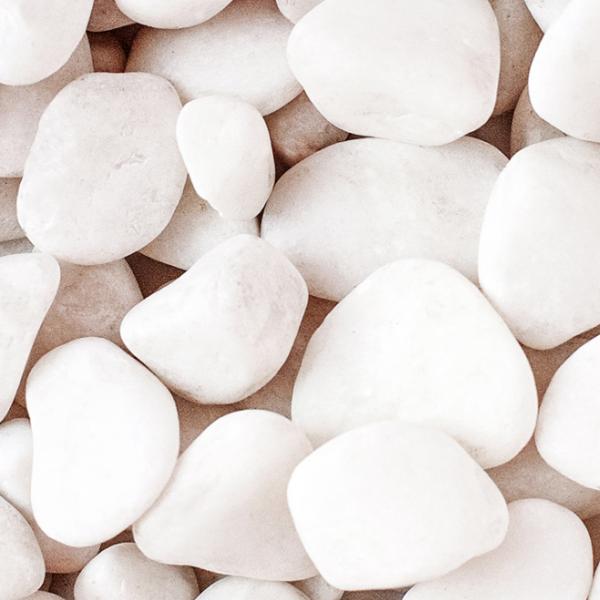 Мраморная галька белая галтовання от RAMDA.RU